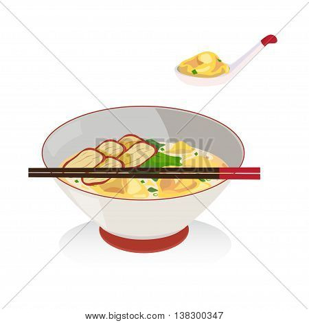 Wanton soup with barbecued red pork in a bowl with chopsticks.
