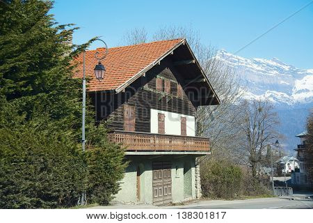 A traditional French house in a ski village in the Alps