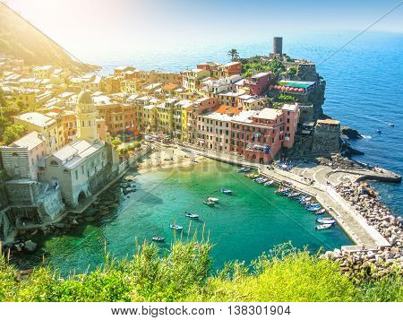 Vernazza at sunset in Cinque Terre National Park, Liguria, Italy.