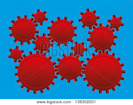 Optical illusion - cog wheels that seem to rotate slowly - illusory motion.