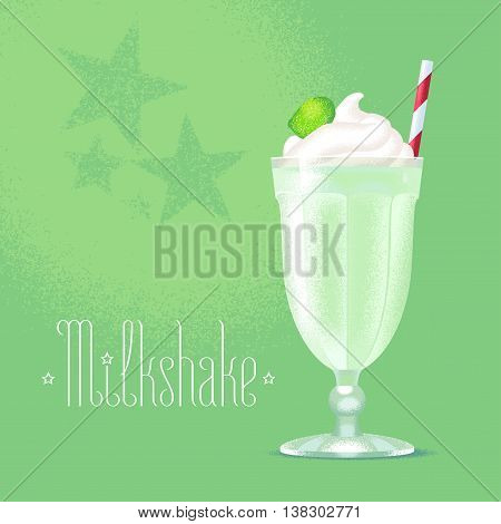 Milkshake vector illustration design element. Isolated cartoon glass and straw with green fresh milk shake and ice cream