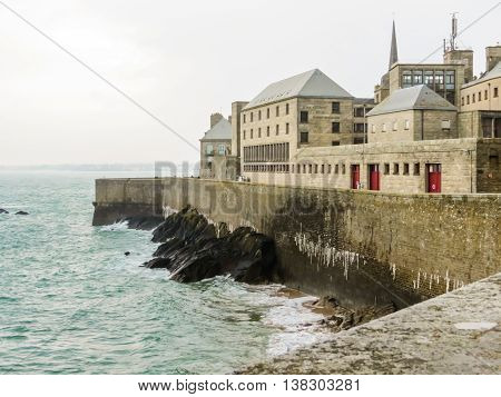 Ancient buildings in Intramuros - the Internal City of Saint Malo. Bretagne, France