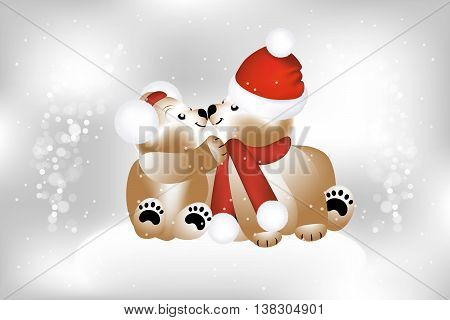 Adorable teddies on Christmas with snow flakes - illustration