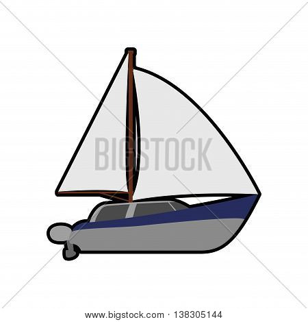 Transportation concept represented by sailboat icon. Isolated and flat illustration