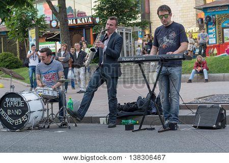 Kiev Ukraine - May 22 2016: Street musicians give a concert at the weekend on Khreschatyk Street