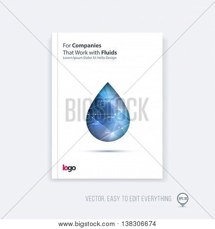 Brochure template layout, cover design annual report, magazine, flyer, leaflet in A4 with polygonal fluid oil drop, water droplet, raindrop, for business and science with overlay effect. Vector.