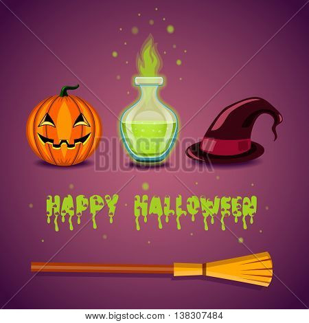 Greeting card with pumpkin happy halloween. Halloween illustration.