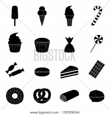 Set of sweets icons on white background, vector illustration