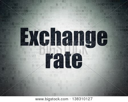 Banking concept: Painted black word Exchange Rate on Digital Data Paper background
