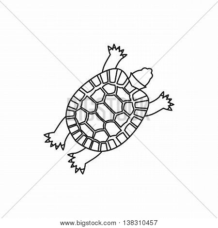 Turtle icon in outline style isolated vector illustration