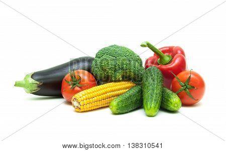 healthy food: fresh vegetables isolated on white background. horizontal photo.