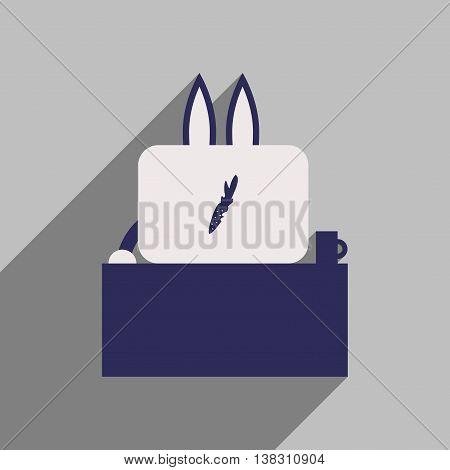 flat icon with long shadow rabbit cartoon