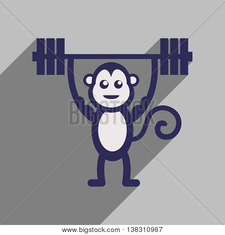 flat icon with long shadow monkey cartoon