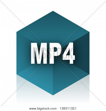 mp4 blue cube icon, modern design web element