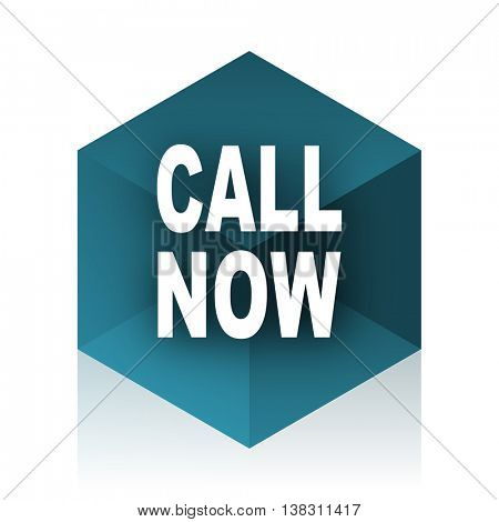 call now blue cube icon, modern design web element