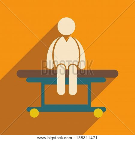 Modern flat icon with long shadow man sitting Hospital