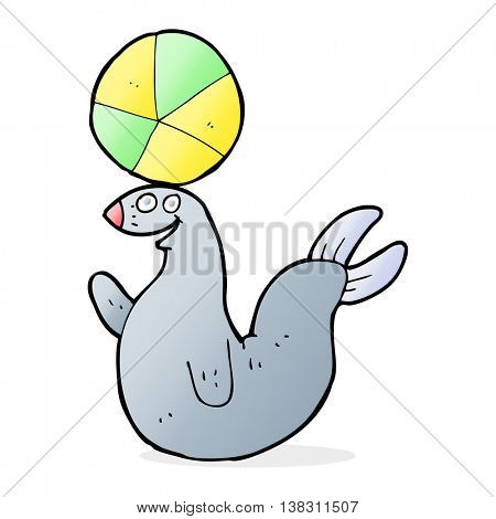 cartoon seal balancing ball