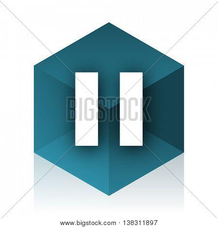 pause blue cube icon, modern design web element