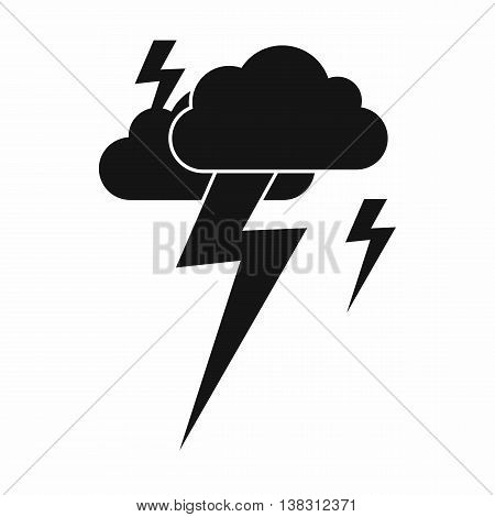 Cloud and lightning icon in simple style isolated vector illustration
