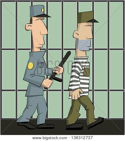 guard with a baton conducts a criminal prisoner in jail