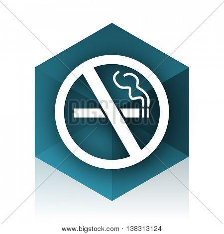 no smoking blue cube icon, modern design web element