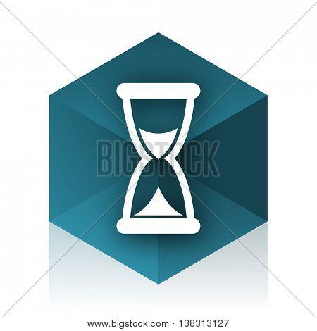 time blue cube icon, modern design web element