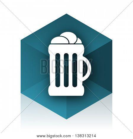 beer blue cube icon, modern design web element