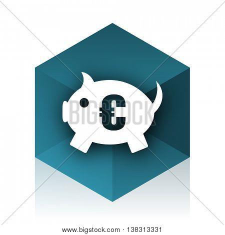 piggy bank blue cube icon, modern design web element