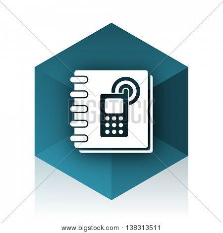 phonebook blue cube icon, modern design web element