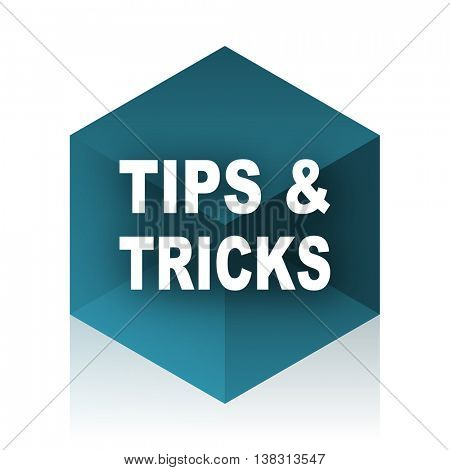 tips tricks blue cube icon, modern design web element