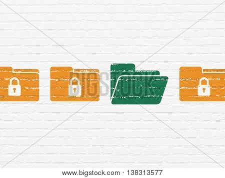 Safety concept: row of Painted orange folder with lock icons around green folder icon on White Brick wall background