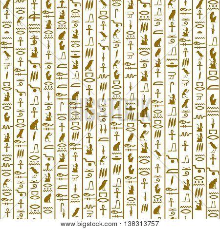 gold Egyptian hieroglyphs on a white background