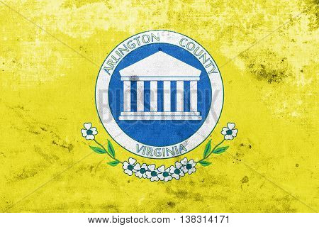 Flag Of Arlington County, Virginia, Usa, With A Vintage And Old