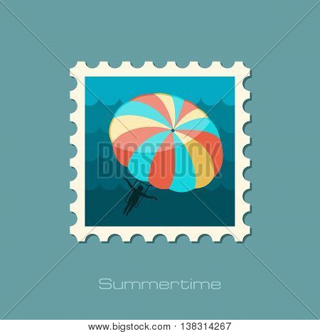Parasailing. Summer kiting activity vector stamp. Beach. Summer. Summertime. Holiday. Vacation eps 10