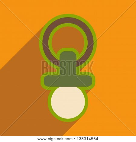 Modern flat icon with long shadow baby Nipple
