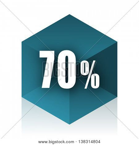 70 percent blue cube icon, modern design web element