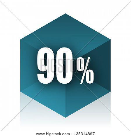 90 percent blue cube icon, modern design web element