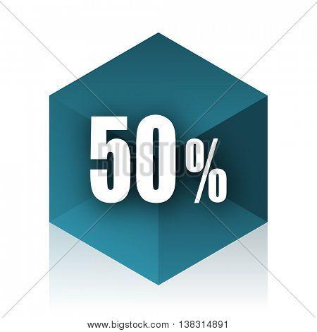 50 percent blue cube icon, modern design web element
