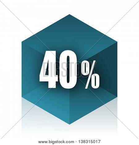 40 percent blue cube icon, modern design web element