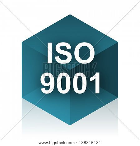 iso 9001 blue cube icon, modern design web element