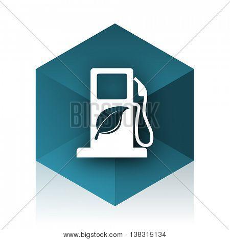 biofuel blue cube icon, modern design web element