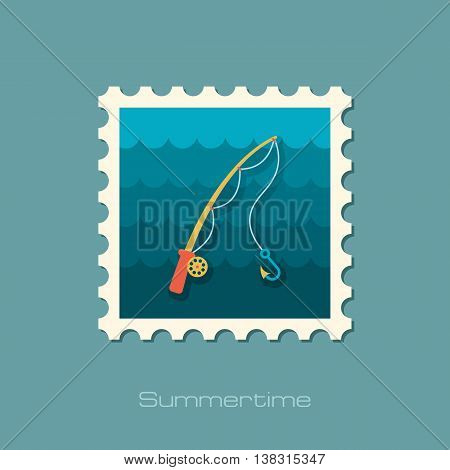 Fishing Rod vector stamp. Beach. Summer. Summertime. Holiday. Vacation eps 10