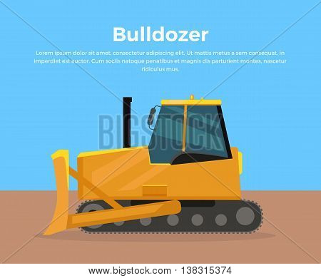 Bulldozer vector banner. City building flat design concept. Construction machines in career. Extraction, transport, moving materials, earthworks illustration for advertise, infographic, web design.