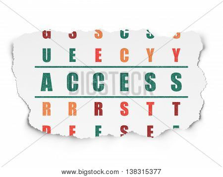 Security concept: Painted green word Access in solving Crossword Puzzle on Torn Paper background