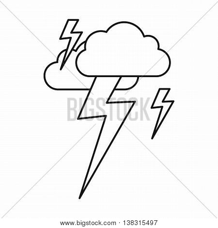 Cloud and lightning icon in outline style isolated vector illustration