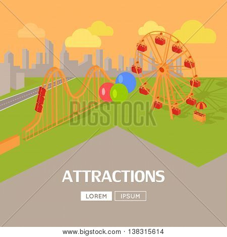 Amusement park attractions vector flat style design web banner. City entertainment in the summer vacation concept. Ferris wheel and roller coaster illustration. City landscape.