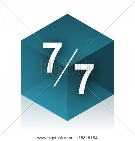 7 per 7 blue cube icon, modern design web element
