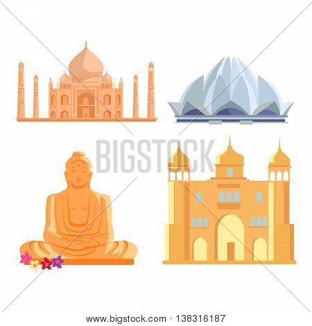 Set famous Indian architectural attractions. Tadj mahal, Lotus temple, Buddha Statue, ancient palace flat style design vector illustrations. Summer vacation in India concept.