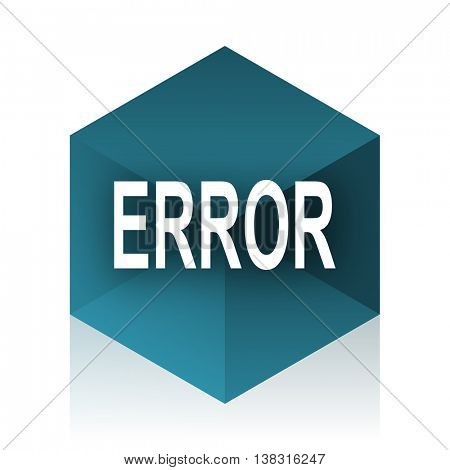error blue cube icon, modern design web element