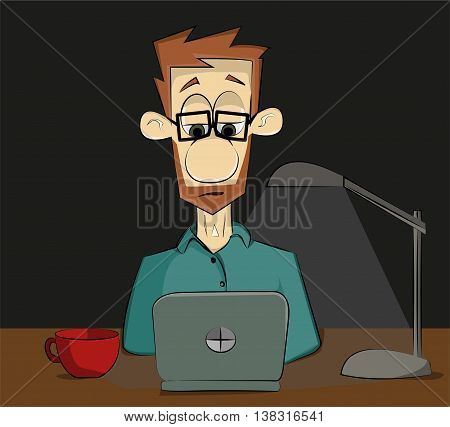 guy with glasses to night working or studying in the laptop